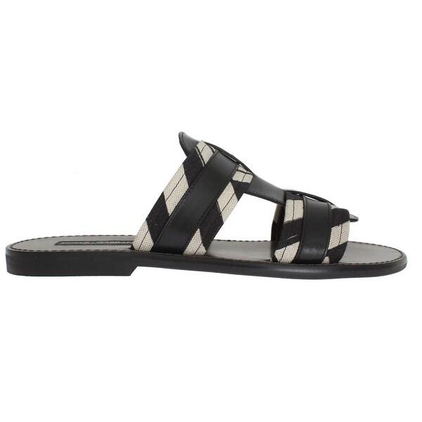 d2cd40e2c Shop Dolce & Gabbana Dolce & Gabbana Black Leather Linen Slides Sandals -  eu44-us11 - Free Shipping Today - Overstock - 21509368