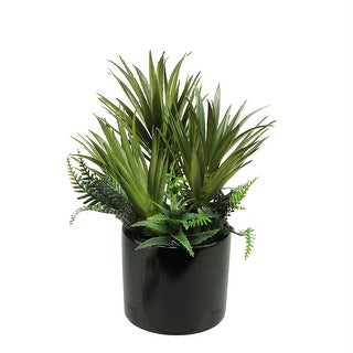 "9.75"" Potted Artificial Mixed Green Succulent and Fern Arrangement"