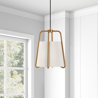Link to Marduk Contemporary Antique Pendant with White Linen Shade Similar Items in Pendant Lights