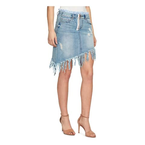 William Rast Womens Asymmetrical Skirt Denim Fringe - 27