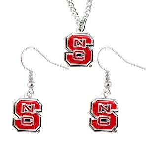 North Carolina State Wolfpack Necklace And Dangle Earings Charm Set - NCAA