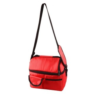 Travel Nylon Double Layer Insulated Lunch Food Holder Cooler Bag Storage Red