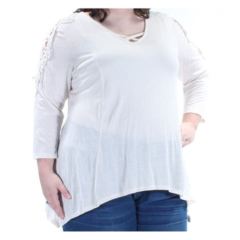 STYLE & CO Womens Ivory Lace 3/4 Sleeve V Neck Trapeze Top Plus Size: 0X