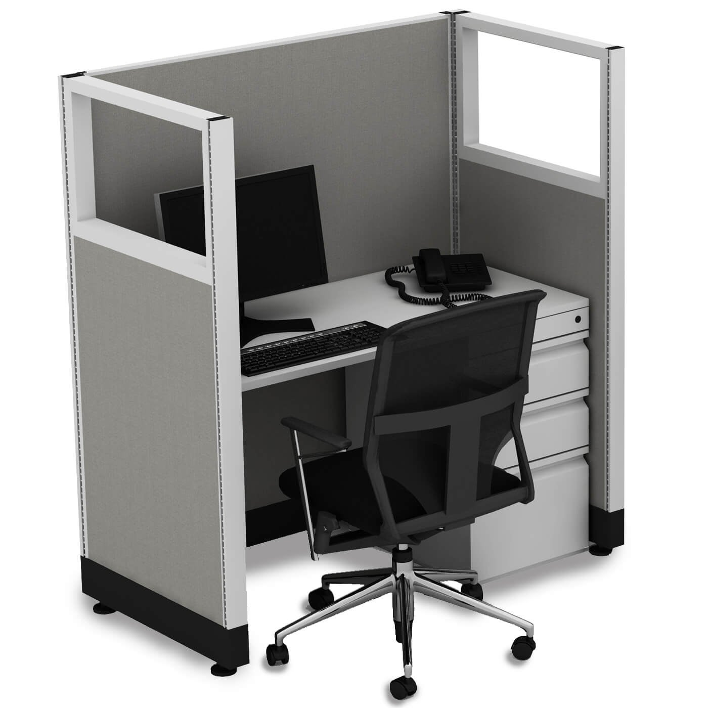 Cubicle Workstations 53H Powered (3x4 - Espresso Desk Silver Paint - Assembled)