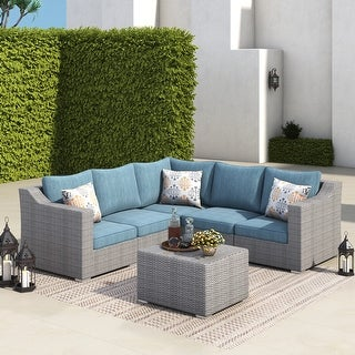 Link to Corvus Martinka 6-piece Outdoor Aluminum Frame Patio Sofa All-weather Grey Wicker Sectional Conversation Set with Pillows Similar Items in Outdoor Sofas