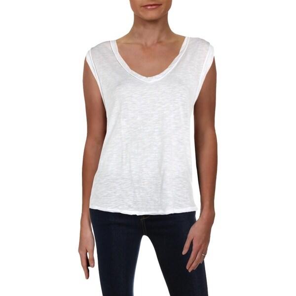 Free People Womens Deep V Neck Basic T-Shirt