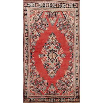 """Antique Floral Red Mahal Persian Area Rug Hand-knotted Wool Carpet - 4'0"""" x 6'5"""""""