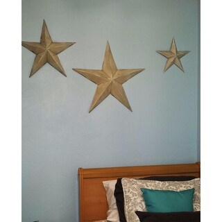 Farmhouse Inspired Distressed Ivory Iron 3D Barnstar Wall Sculptures (Set of 3)