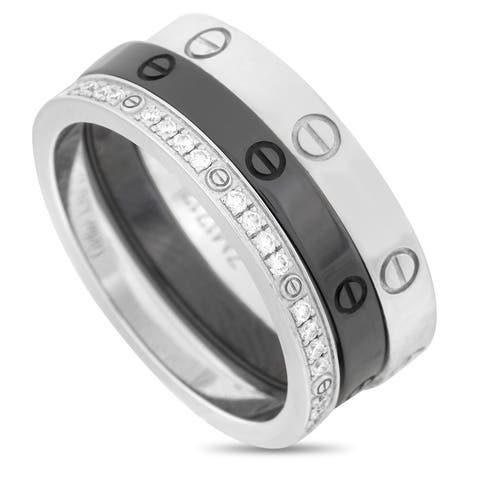 Cartier White Gold and Ceramic Diamond Love 3 Ring Set Size 6