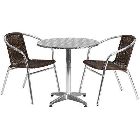 """Offex 27.5"""" Round Aluminum Indoor-Outdoor Table With 2 Rattan Chairs"""