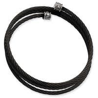 Chisel Stainless Steel Black Wire Adjustable with CZs Wrap Bangle