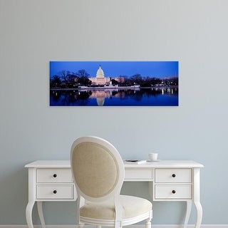 Easy Art Prints Panoramic Image 'Government building in water, Capitol Building, Washington DC' Canvas Art