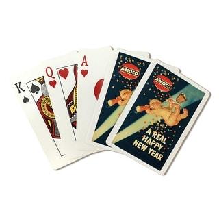 Amoco - A Real Happy New Year - (artist: Leyendecker, Joseph C. c. 1946) - Vintage Ad (Poker Playing Cards Deck)