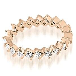 1.40 cttw. 14K Rose Gold Stylish Bar Set Princess Cut Diamond Eternity Band