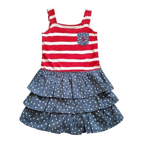 US Polo Red White Blue Stars Sleeveless Summer Patriotic Dress Little Girls