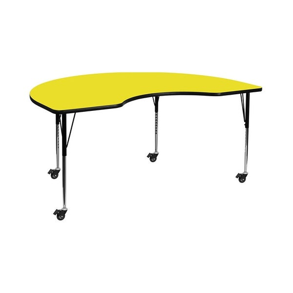 "Offex 48""W x 96""L Mobile Kidney Shaped Activity Table with 1.25"" Thick Yellow Laminate Top and Standard Height Adjustable Legs"