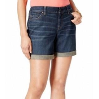 Tommy Hilfiger NEW Blue Womens Size 12 Dark Wash Cuffed Denim Shorts