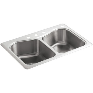 "Link to Kohler K-3369-4 Staccato 33"" Double Basin Top-Mount 18-Gauge Stainless - Stainless Steel Similar Items in Sinks"