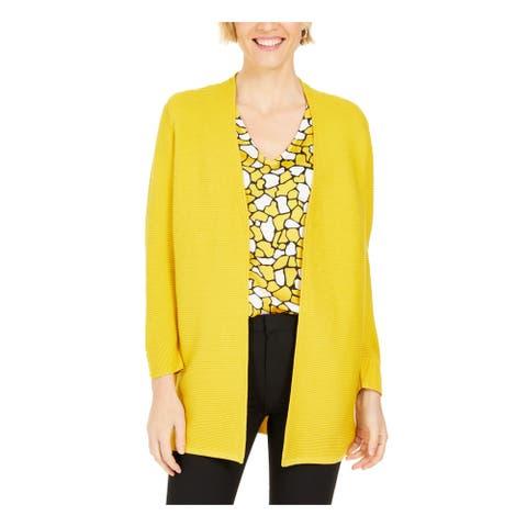 KASPER Womens Yellow Long Sleeve Open Cardigan Sweater Size M