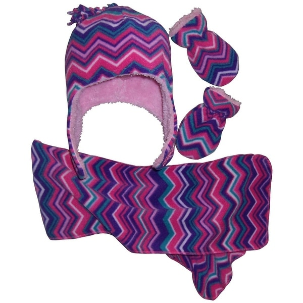 41f4fb76fca Shop NICE CAPS Girls Chevron Soft Sherpa Lined Hat Scarf Mitten Set - Free  Shipping On Orders Over  45 - Overstock.com - 15422201