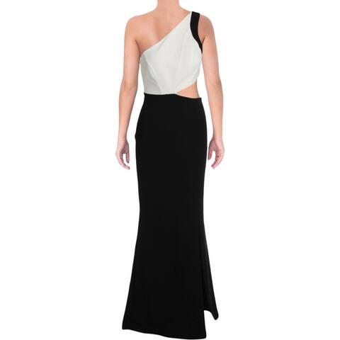 Bebe Womens Evening Dress Cut-Out Split Hem - Black/Ivory
