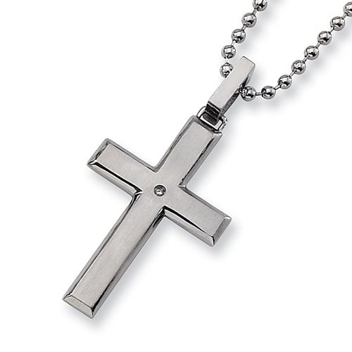 Chisel Brushed Stainless Steel and Diamond Cross Necklace on 22 Inch Bead Chain (2 mm) - 22 in