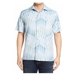 Tommy Bahama NEW Blue Mens Size XL Button Down Printed Silk Shirt