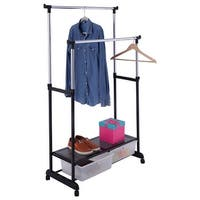 Costway Double Adjustable Heavy Duty Clothes Hanger Rolling Garment Rack W/ 2Drawers - Sliver