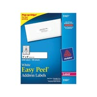 Avery Easy Peel Permanent-Adhesive Address Labels For Laser Printers, 1 x 4 in, White, Box of 2000