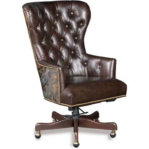 """Hooker Furniture EC448-087 Katherine 25"""" Wide Ranch Style Leather and - Kingston Eden with Cowhide"""