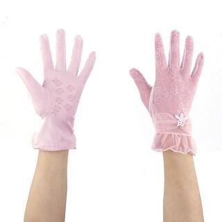 Lady Summer Travel Flower Imitation Pearl Decor Sun Resistant Gloves Purple Pair