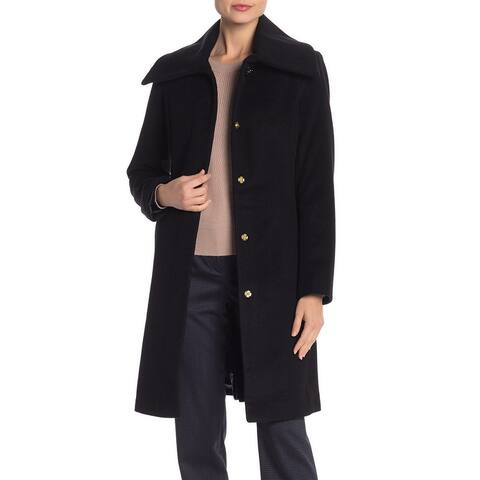 Cole Haan Womens Coat Black Size 6 Basic Snap-Button Wing-Collar