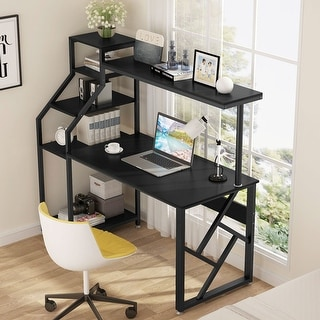 Computer desk with 4-tier storage shelves Worksaton Desk