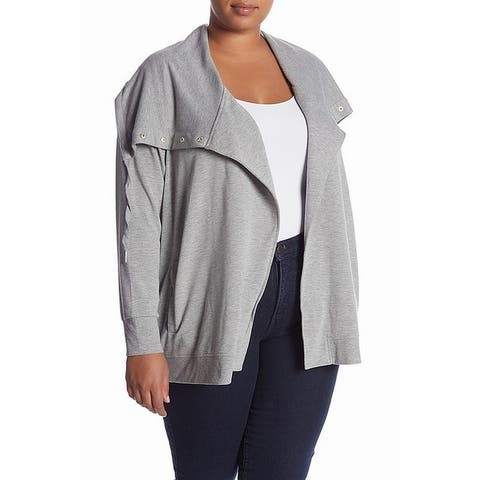 Cable & Gauge Women's Gray Size 3X Plus Shawl Collar Cardigan Sweater