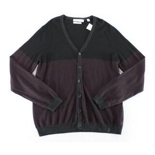 Calvin Klein NEW Black Purple Mens Size Large L Cardigan Wool Sweater