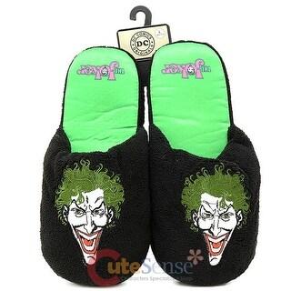 DC Comics Joker Face Plush Slippers (Large, black/green)