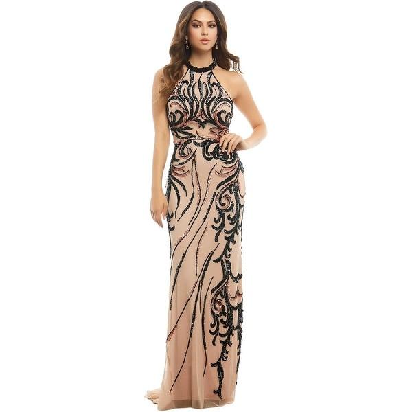 Mac Duggal Womens Formal Dress Mesh Inset Prom