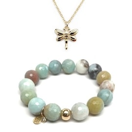"Julieta Jewelry Set 12mm Green Amazonite Lauren 7"" Stretch Bracelet & 16mm Dragonfly Charm 16"" 14k Over .925 SS Necklace"