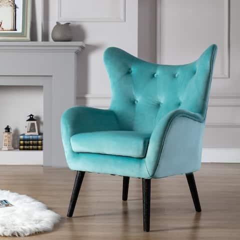 Corvus Cumbria Wingback Mid-century Velvet Arm Chair