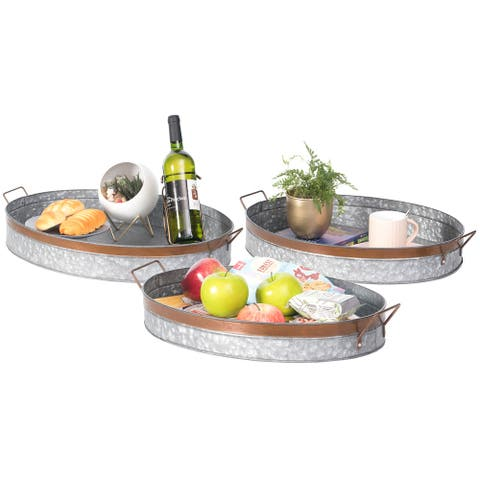 Rustic Galvanized Metal Oval Serving Tray with Handles