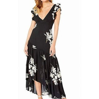 Link to Free People Womens Maxi Dress Black Size 2 Plunging Flutter-Sleeve Similar Items in Dresses