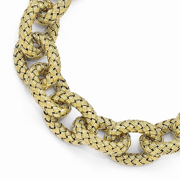 Italian Sterling Silver Gold-plated Polished Textured Link Bracelet - 8 inches