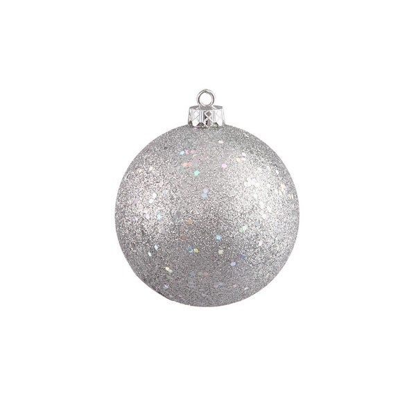 """Silver Splendor Holographic Glitter Commercial Shatterproof Christmas Ball Ornament 10"""" (250mm)"""