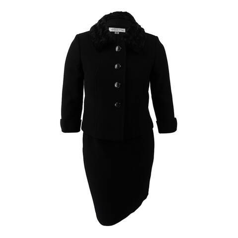 Tahari ASL Women's Faux-Fur-Collar Skirt Suit - Black