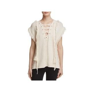 Pam & Gela Womens Baja Pullover Sweater Knit Fringe