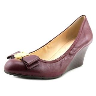Cole Haan Tali Grand Bow Women Open Toe Leather Burgundy Wedge Heel