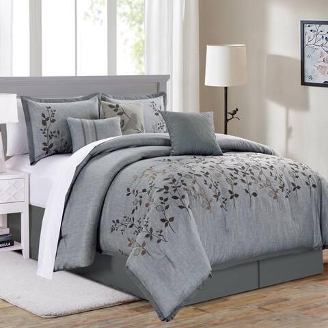 Porch & Den Mclellan Blue Floral Microfiber 7-piece Comforter Set
