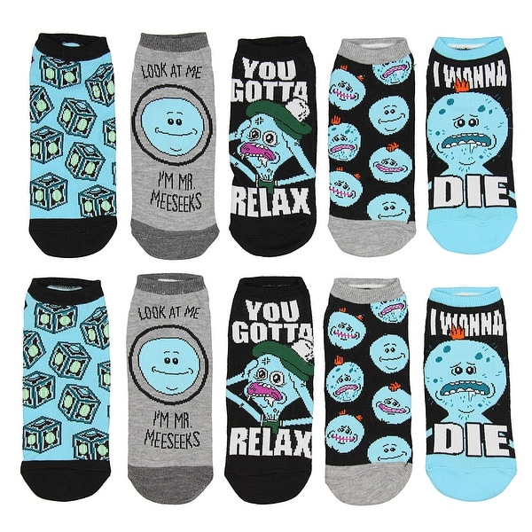 Rick And Morty Mr. Meeseeks You Gotta Relax 5 Pack Low Cut Ankle Socks