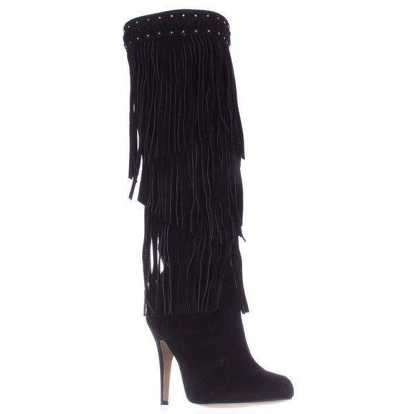 I35 Tomi Fringe Knee High Heeled Dress Boots, Black