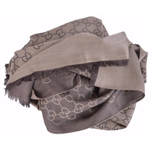 e8735fe8a5a Shop Gucci 165903 XL Brown Wool Silk GG Guccissima Logo Scarf Shawl ...